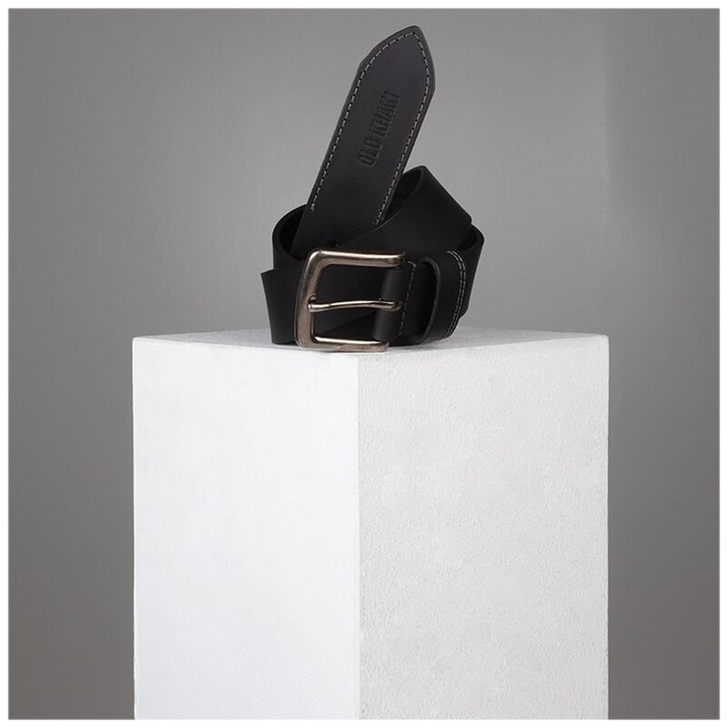Talon Stitch Detail Leather Belt -  black