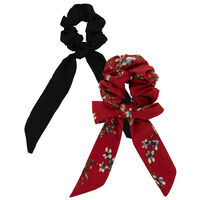 Tyra Red and Black Bow Hair Tie Two-Pack -  red-black