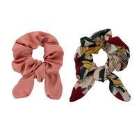 Floral & Plain 2-Pack Scrunchie Hair Ties -  pink-yellow