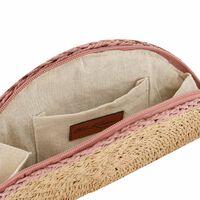 Ophia Straw Cross-Body Bag -  oatmeal-lightpink