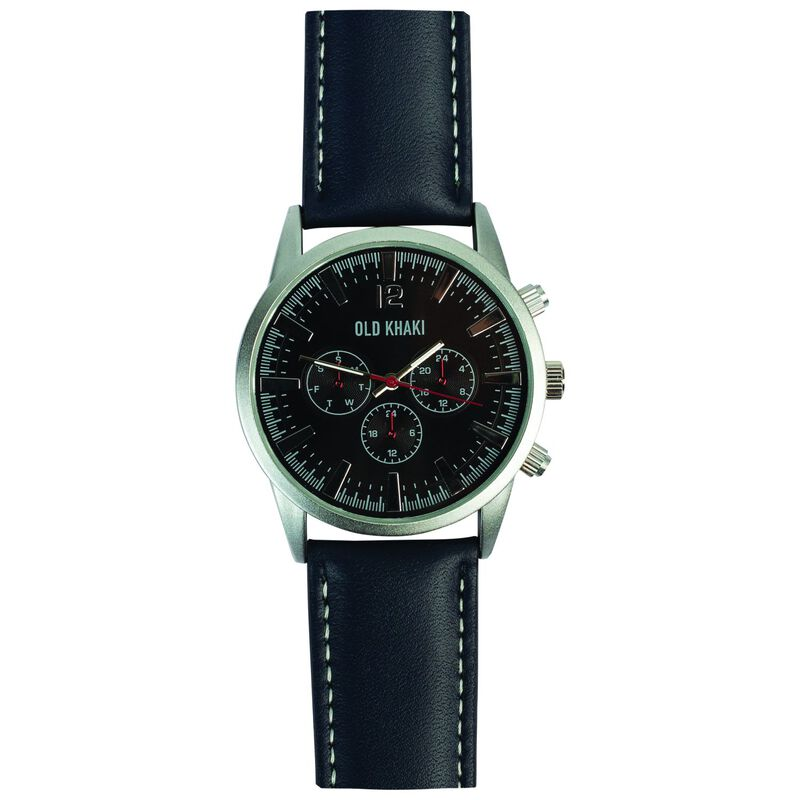 Chad Large Round Aviator Watch -  blue-silver