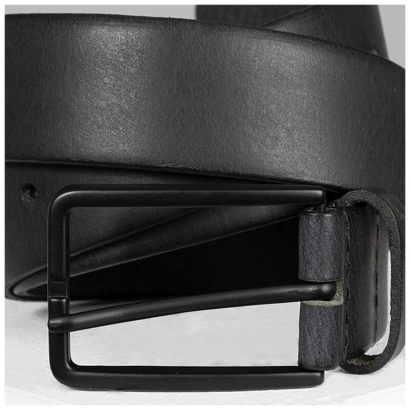Elias Chino Leather Belt -  black