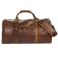 Boris Weekender Leather Bag -  brown