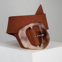 Kimberly Resin Buckle Suede Belt -  rust
