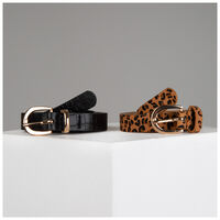 Miya Twin Pack Vegan Leather Belts -  black-assorted