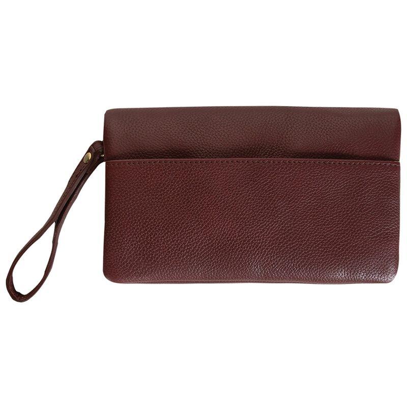 Amelie Leather Fold Over Bag -  burgundy