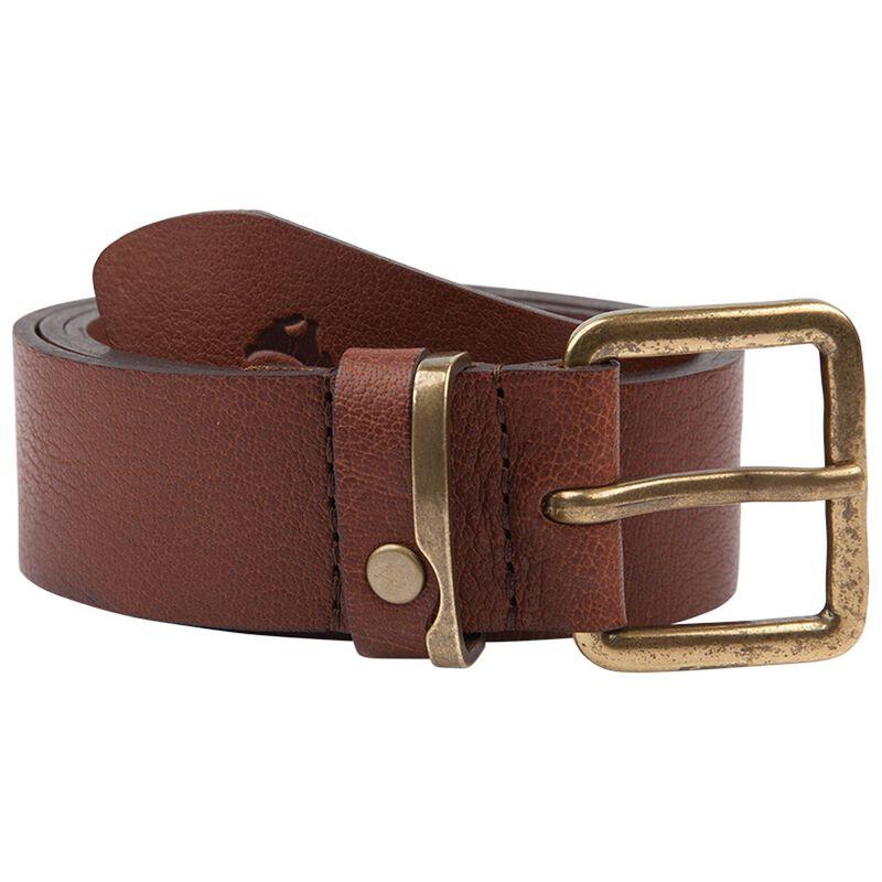 Pieter Men's Leather Belt with Metal Detail -  tan
