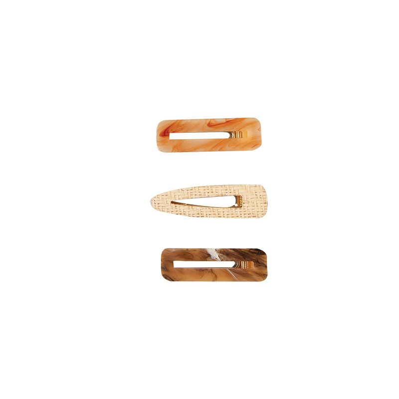 Mandile 3-Pack Straw & Resin Hair Clips -  assorted