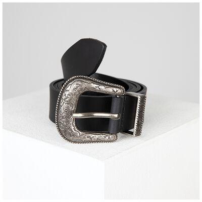 Karter Western Buckle Detail Leather Belt