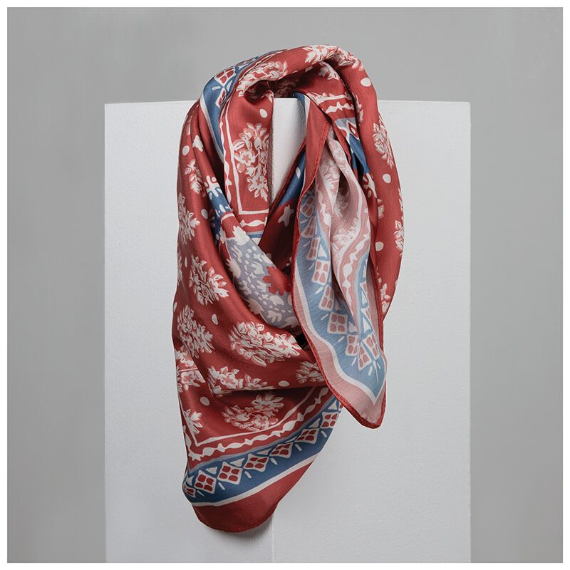 Women's Iza Square Scarf -  rust-assorted