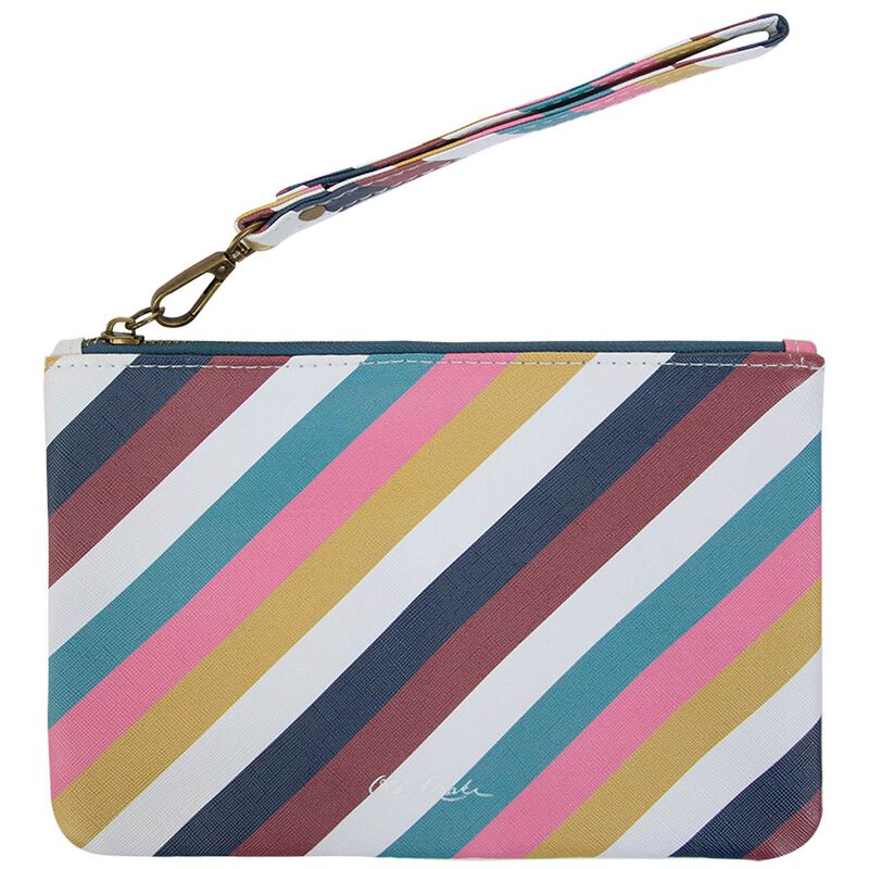 Ayla Vegan Leather Striped Pouch -  pink-assorted