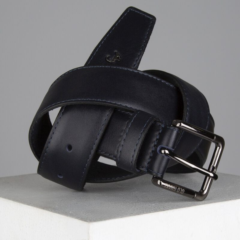 Cason Formal Leather Belt -  navy