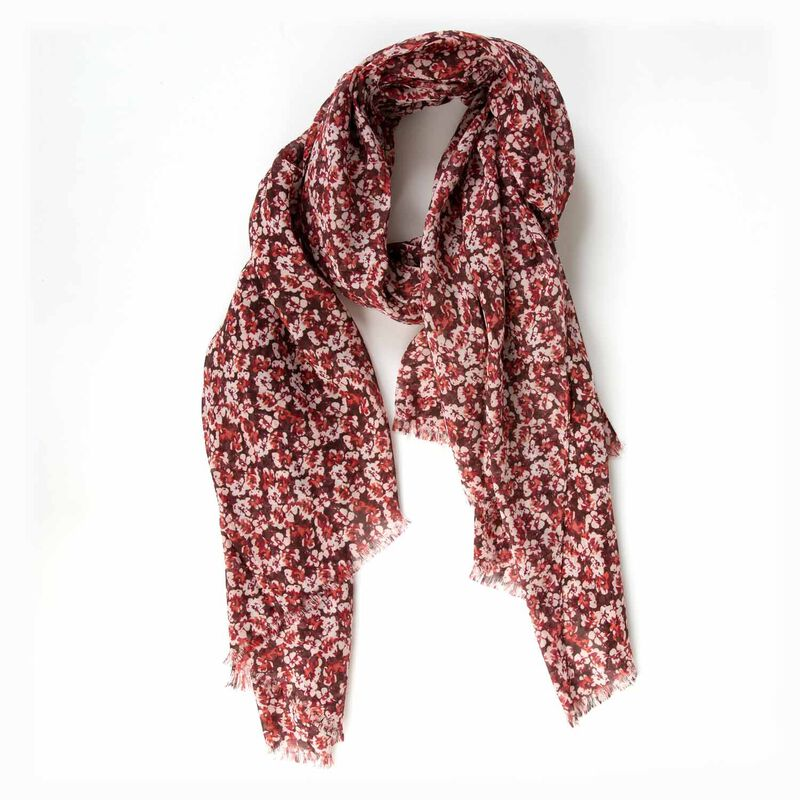 Cynthia Ditsy Floral Scarf -  pink-red