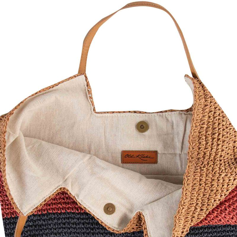 Women's Hadley Straw Tote Bag -  oatmeal-pink