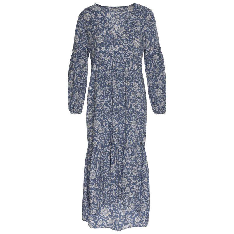 Enid Tiered Dress -  blue-white