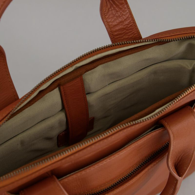 Steve Leather Laptop Bag -  tan