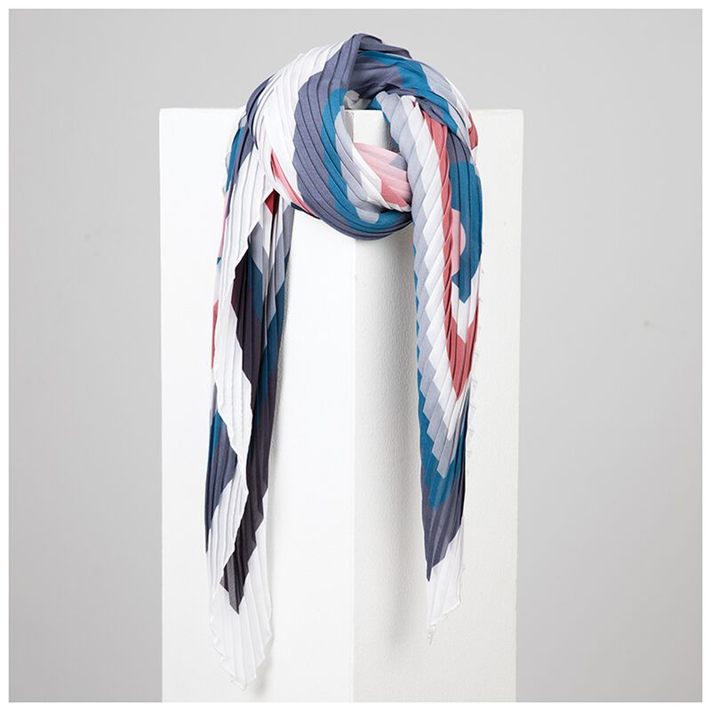 Ariana Pleated Stripe Square Scarf -  assorted