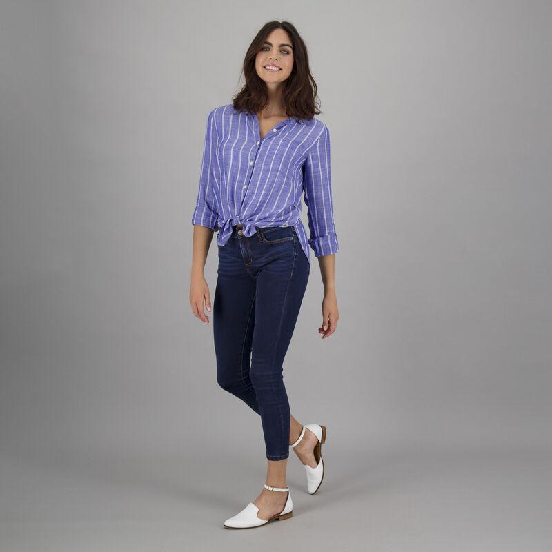 Women's Serena Front-Tie Shirt -  blue-white