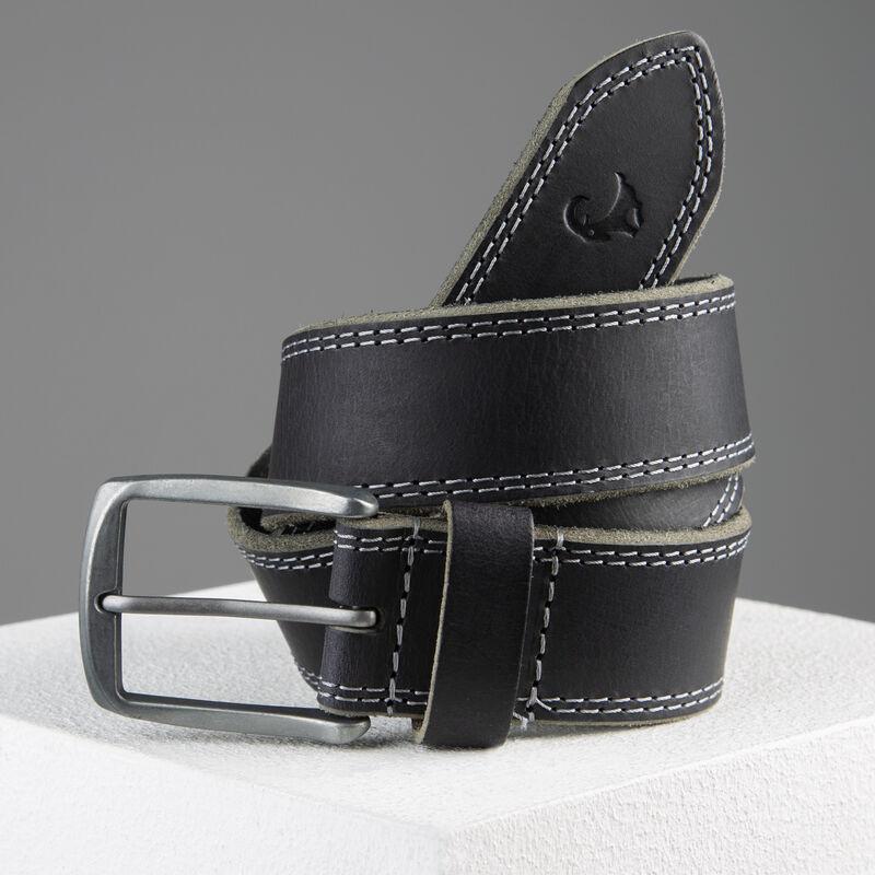 Kaleb Edge Stitch Leather Belt -  black