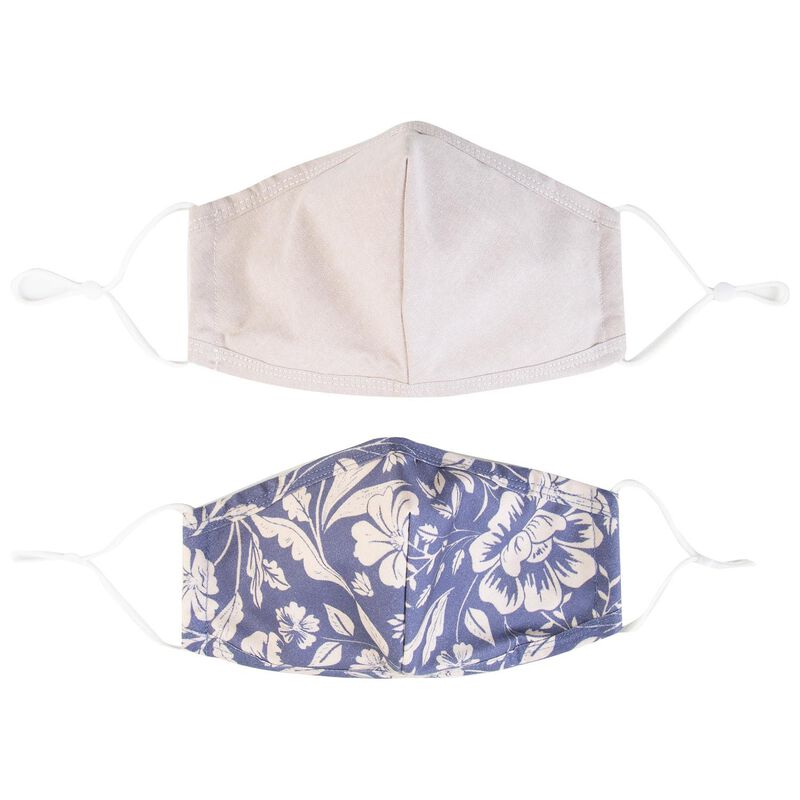 2-Pack Tropical Fabric Face Masks -  blue-lightblue