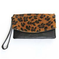 Amelie Leather Fold Over Bag -  tan-black