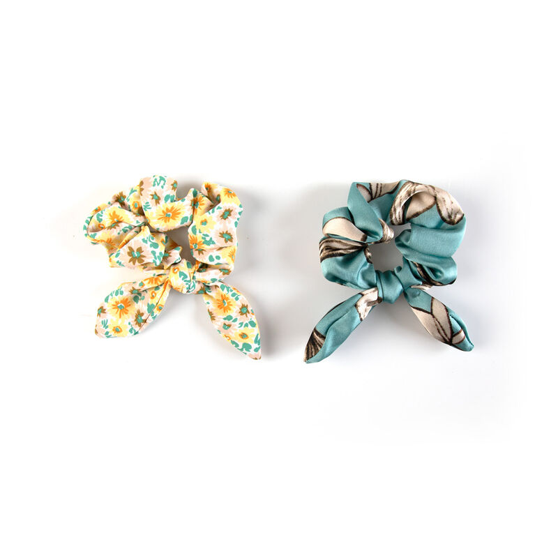 Women's Irma 2-Pack Scrunchie Hair Ties -  aqua-yellow