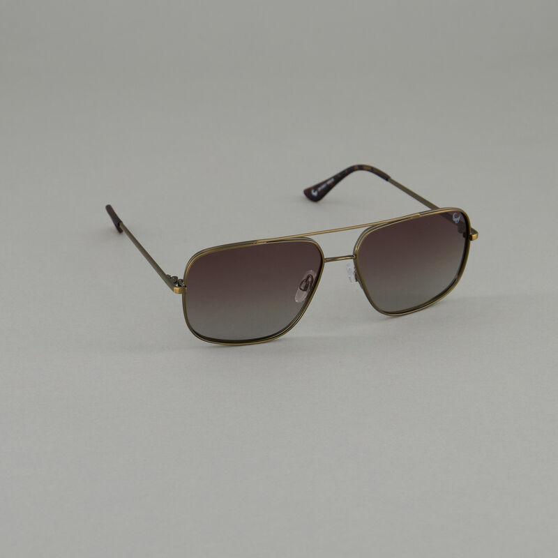 Men's Polarised Square Aviator Sunglasses -  gold-black