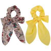 Floral & Plain 2-Pack Scrunchie Hair Ties -  pink-yellow
