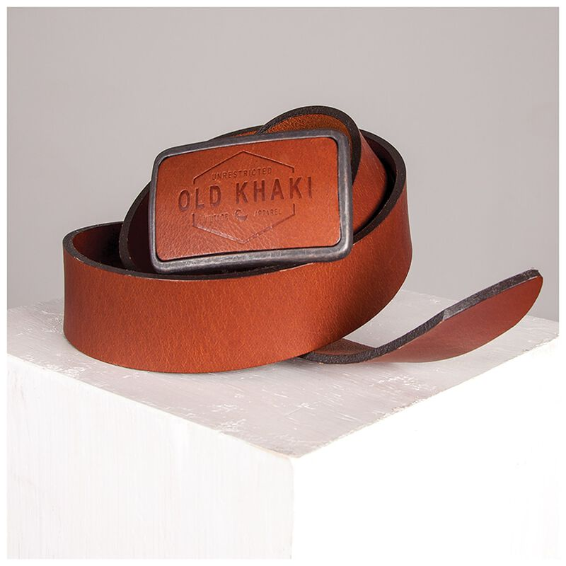 Neil Embossed Buckle Leather Belt -  brown