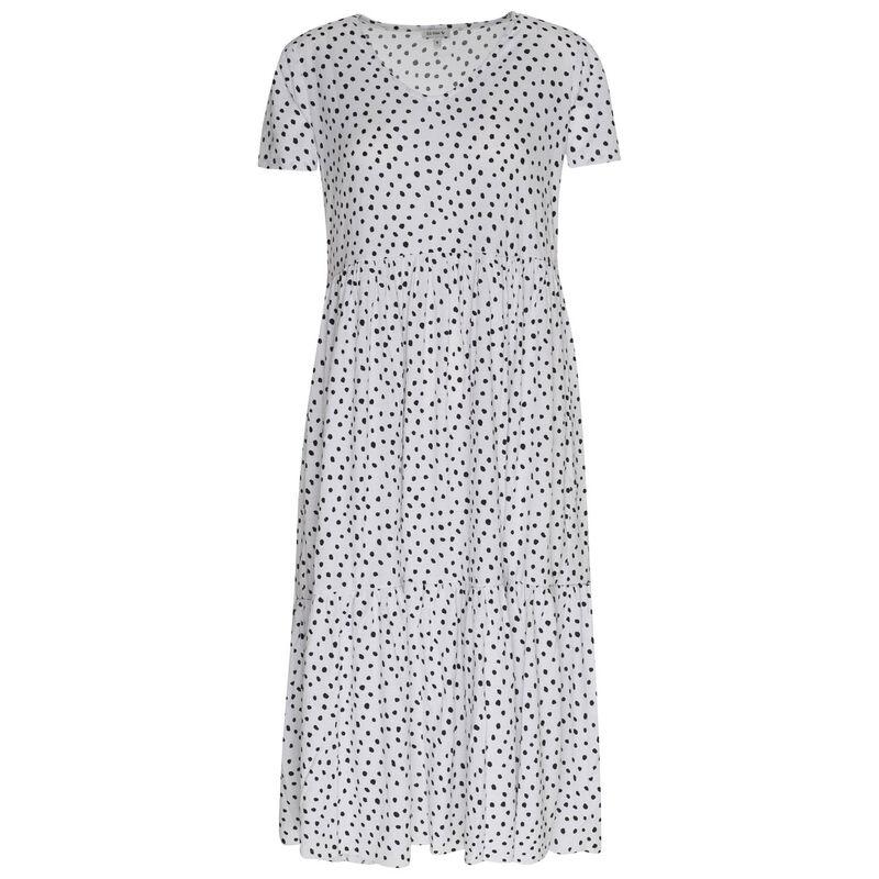 Trina Tiered Dress -  white-black