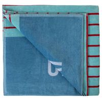 Striped Velour Beach Towel -  blue-red