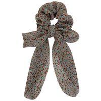 Ditsy & Animal 2-Pack Scrunchie Hair Ties -  green-pink