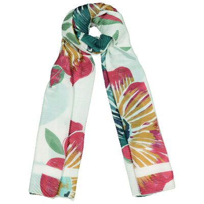 River Oversized Pleated Floral Scarf