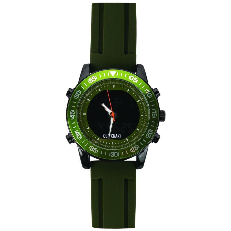 Saint Large Round Ana-Digital Silicone Watch -  olive-grey