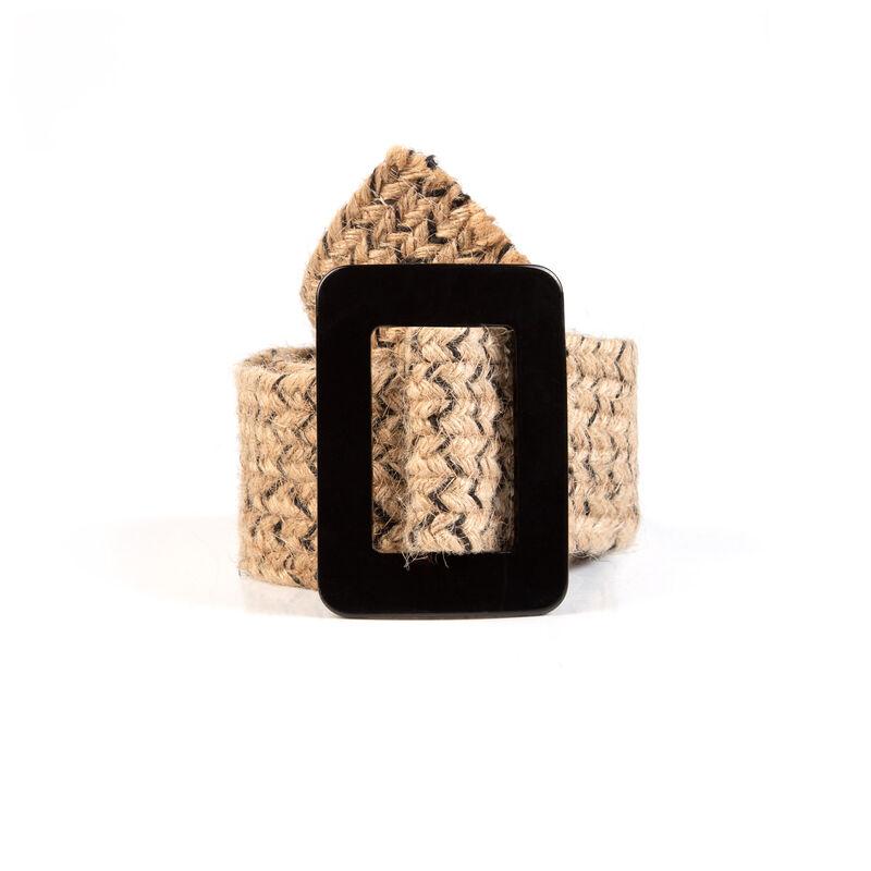 Egypt Straw Belt -  oatmeal-black