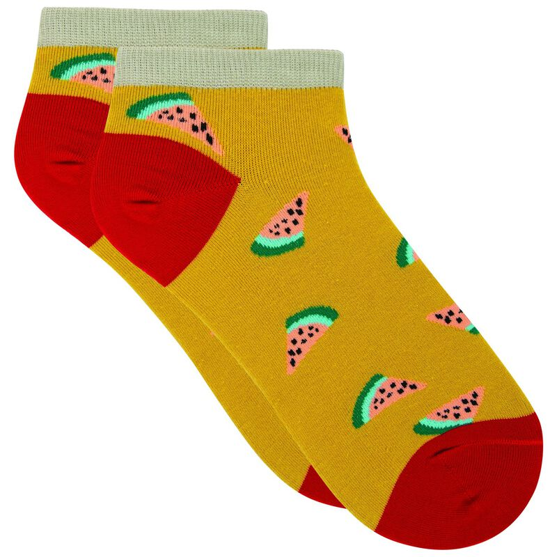 Regina Watermelon Print Ankle Sock -  yellow-red