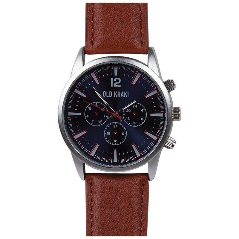 Chad Men's Large Round Aviator Watch -  tan-silver