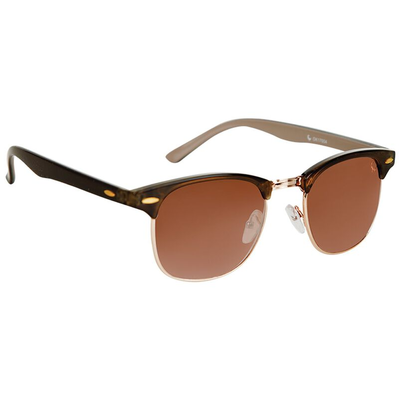 Women's Round Clubmaster Sunglasses -  brown-gold