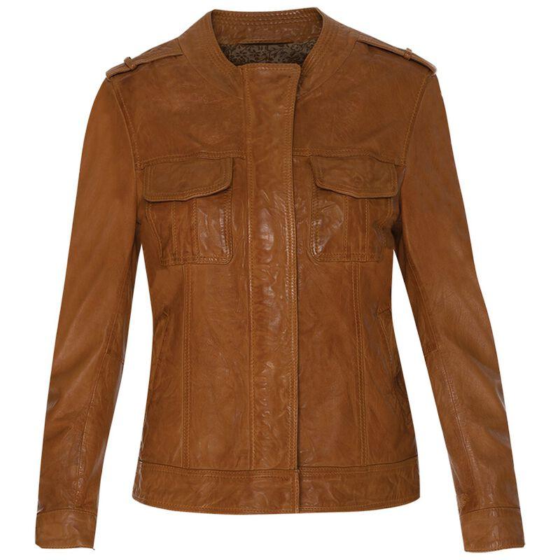 Greer Leather Jacket  -  tan