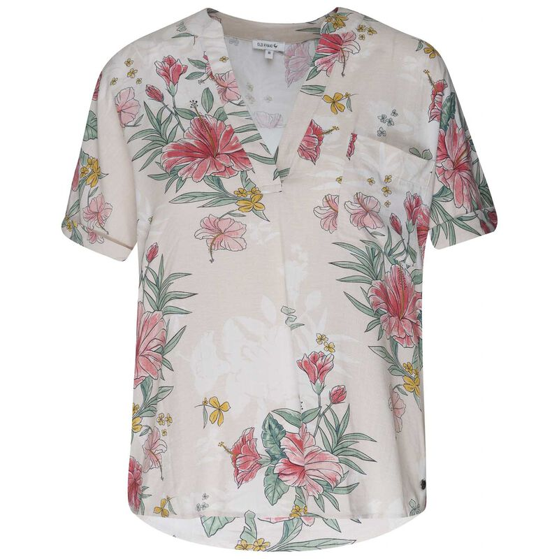 Amor Floral Top  -  oatmeal-assorted