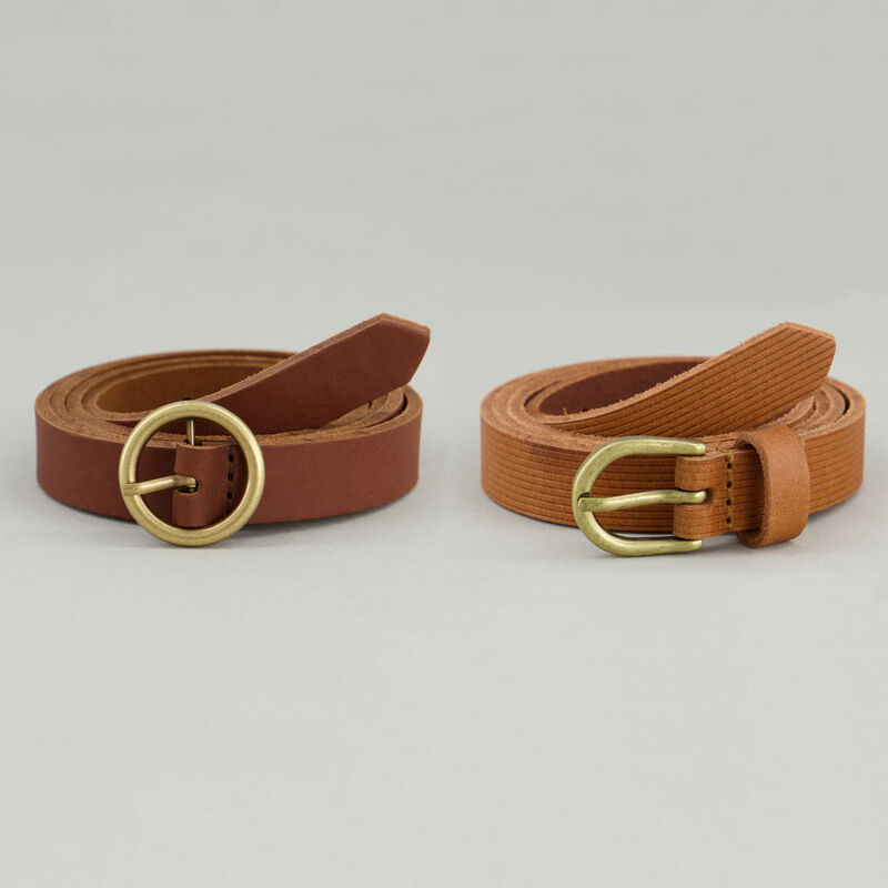 Women's Jude 2-Pack Leather Belts -  tan-yellow