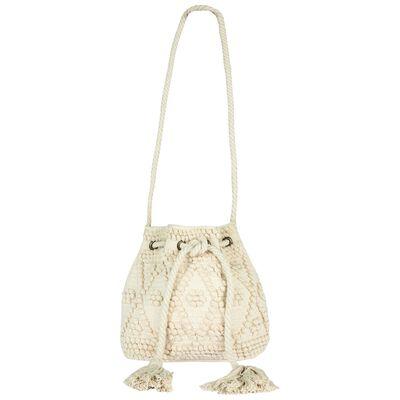 Maia textured cotton drawstring bag