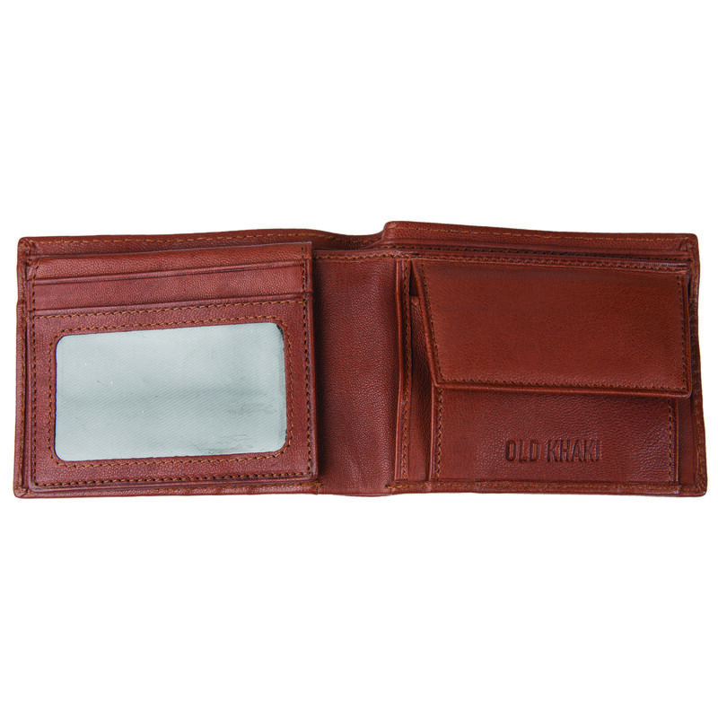 Dale Men's Fold-Over Raw Leather Wallet -  tan-tan