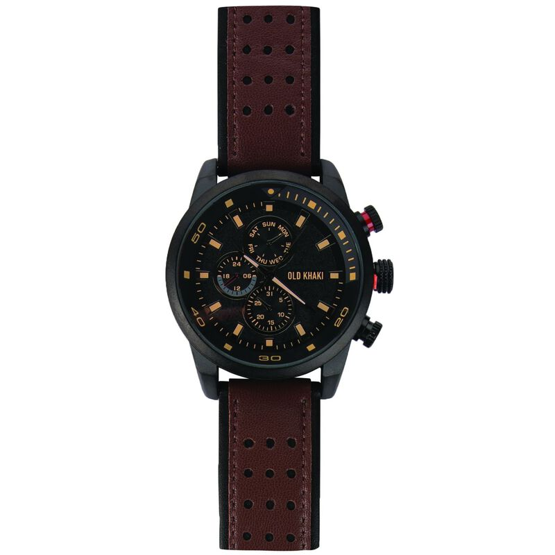 River Large Round Mock Chrono Watch -  brown-grey