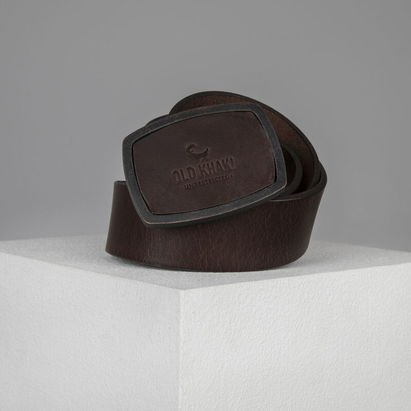 Denis Embossed Buckle Belt -  brown-brown