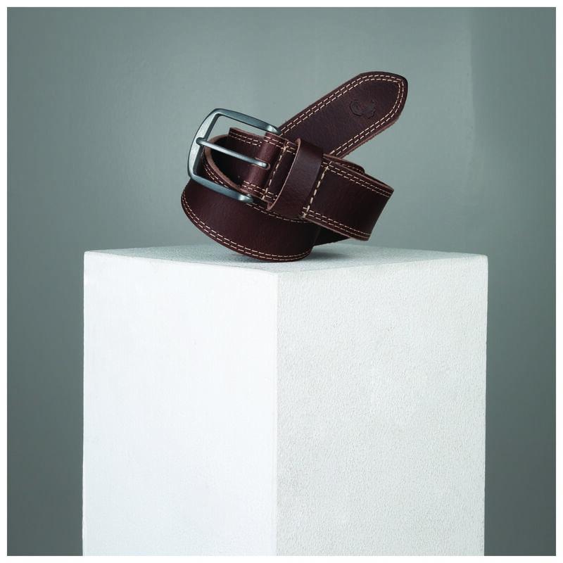 Kaleb Edge Stitch Leather Belt -  brown