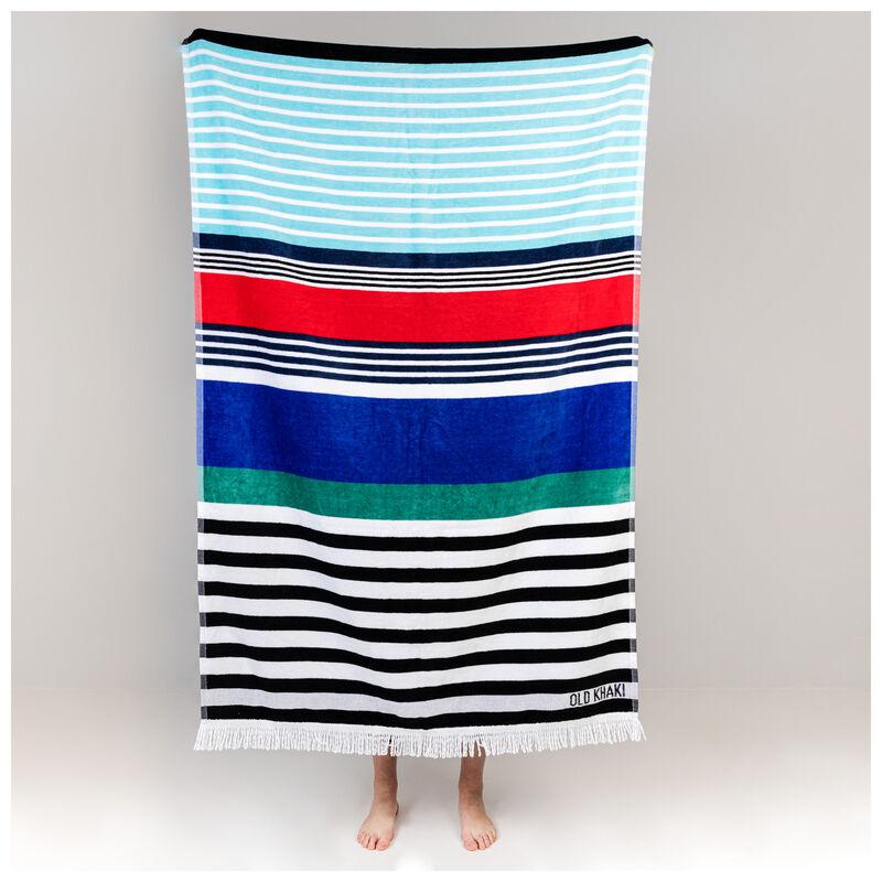 Multistripe Velour Beach Towel -  assorted